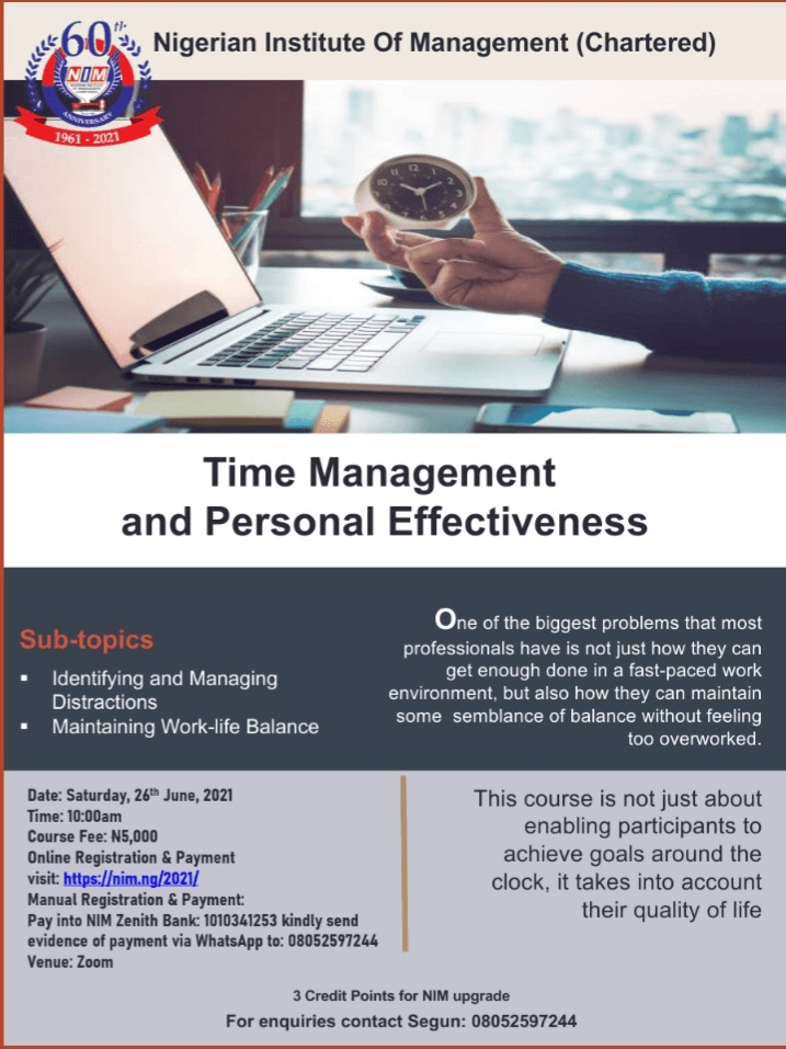 Time Management and Personal Effectiveness