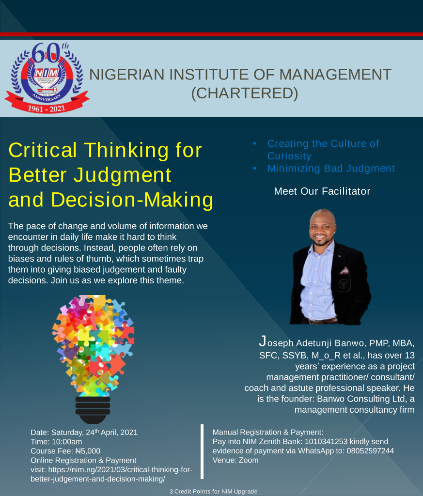 Critical Thinking for Better Judgement and Decision-Making.